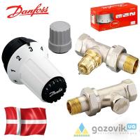 Комплект термостатический , Ду 15 Danfoss (RA-FN+RAS-C+RLV-S), угловой (013G2229) - Терморегуляторы - Интернет-магазин Газовик
