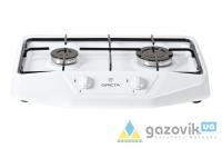 Плита газовая GRETA двухгорелочная настольная модель 1103 без крышки белая - Плиты газовые  - интернет-магазин Газовик - уменьшенная копия